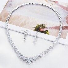 2019 Fashion Crystal CZ Zirconia Bridal Wedding Ronde Ketting Oorbellen Set Sieraden Sets voor Vrouwen Accessoires CN10135