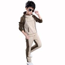 цены на Boy Hooded Tracksuit Clothes set Kids Spring&Autumn Cotton School  Uniform Sport Suit Boys Clothing Sets 4 6 8 10 12 14 year  в интернет-магазинах