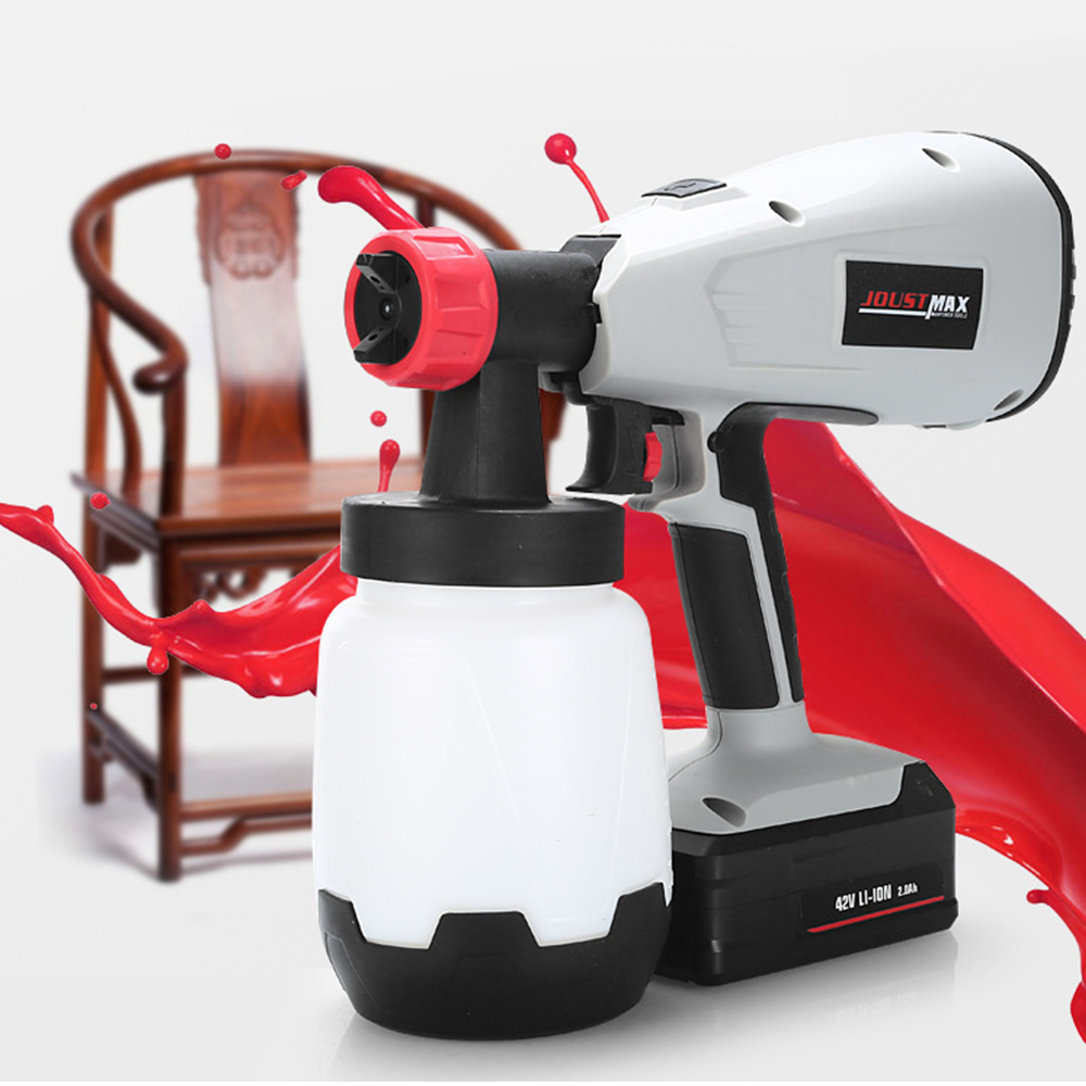 42V Li Ion High Pressure Spray Gun Rechargeable EU Plug 900ml Min Flow Wall Latex Furniture