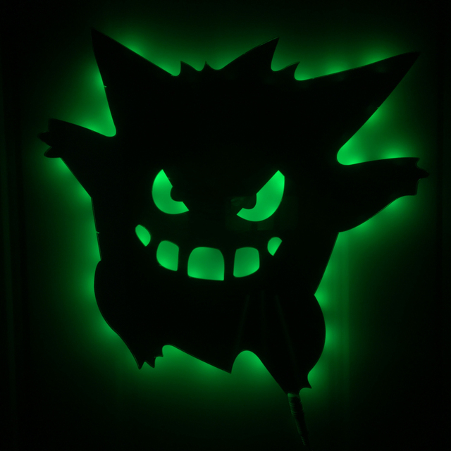 1Piece Pokemon Inspired LED Wall Light Remote Activated Gengar Pokemon LED Backlit Wall Art Color Changing Halloween Decorative