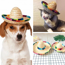 Mexican Multicolor Sunhat Adjustable Cat Puppy Caps Pet Accessories Topee  Pet Straw Hat Sombrero Dog Cap 5974106dce6