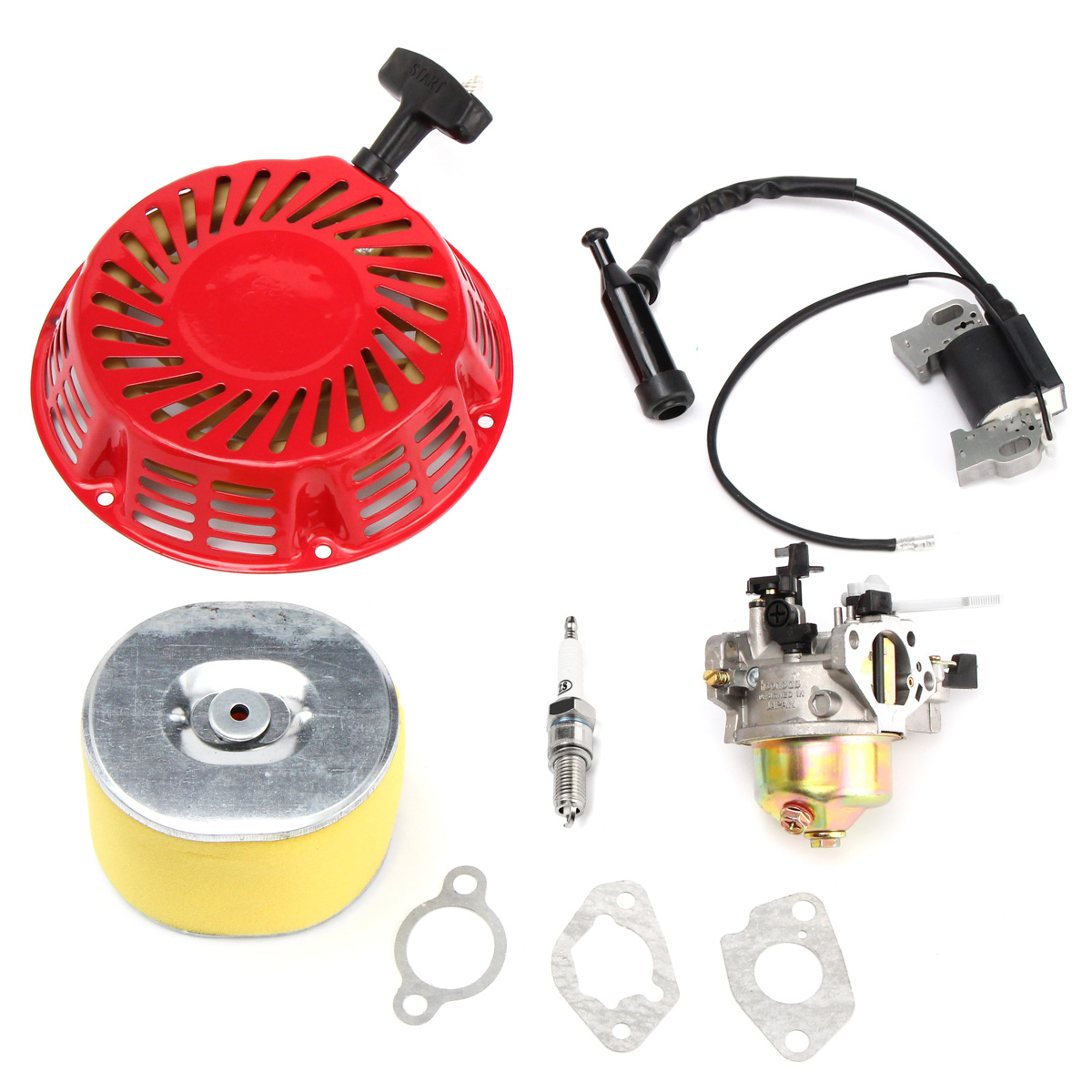 Replacement Carburetor Recoil Air Filter Ignition Coil Plug for Honda GX240 8HP GX270 9HP