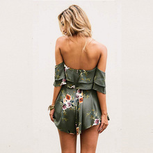 2019 Sexy Slash Neck Floral Printing Playsuit Lotus Leaf Edge Flare Sleeve Loose Shorts Overalls Combishort Femme Ete Ez*