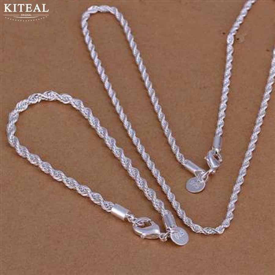 Kiteal venta al por mayor, bañado en plata conjuntos de joyas 925 encantos 16 18 20 22 24 pulgadas de moda collar pulsera trenzado cuerda línea cadena