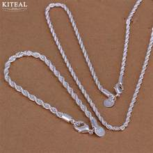 kiteal wholesale silver plated jewelry sets 925 charms 16 18 20 22 24 inch necklace bracelet fashion Twisted rope Line chain(China)