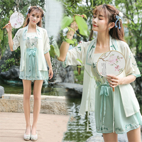 Lady Spring Casual Hanfu Fashion Traditional Chinese Costumes Ancient Retro Dance Dress Woman Embroidery 3PCS Clothing Set