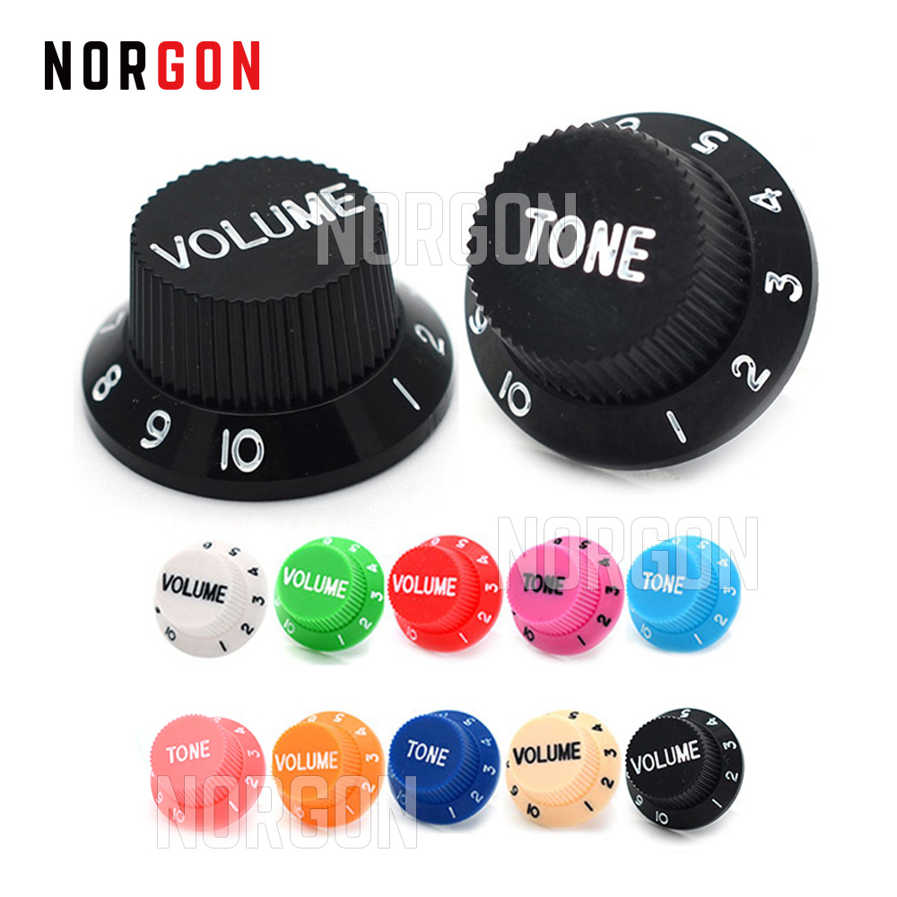 Norgon 2 Pcs Guitar Control Knobs 1 Volume 1 Tone 10 Colors For Stratocaster Strat ST SQ Electric Guitar Parts And Accessories