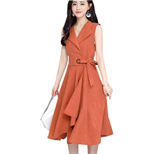 2019 new fashion Summer Dress Sleeveless work OL women dress casual A-Lin v-neck cotton Linen dress vestidos de festa robe femme недорго, оригинальная цена