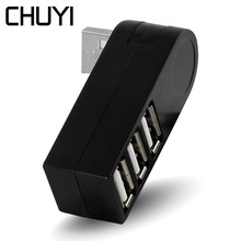CHUYI 3 Порты и разъёмы USB2.0 хаб поворотный разъем Mini многопортовый USB-адаптер адаптер высокое Скорость для периферийные устройства портативный компьютер аксессуары