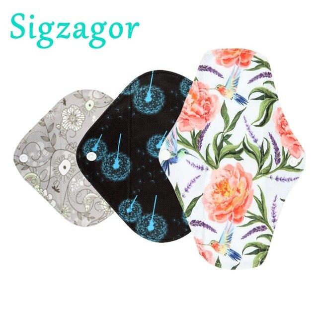 [Sigzagor]1 xs、s、ロングパンティライナー布月経パッド、竹炭、ママ布月経衛生再利用可能なウォッシャブルミックスサイズ