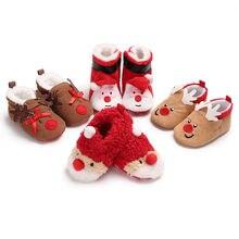 Обувь для новорожденных мальчиков и девочек на рождественскую вечеринку теплая обувь из хлопка с рисунком оленя в 4 стилях для детей от 0 до 18 месяцев