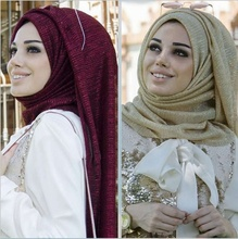 Fashion Muslim Hijab Solid-colored Long Scarf with Gold Ruffle on The Top for Women