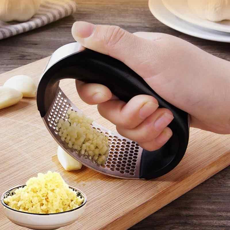 1 Uds. De acero inoxidable prensas de ajo Manual picadora de ajo herramientas para ajo curvo frutas verduras herramientas utensilios de cocina caliente