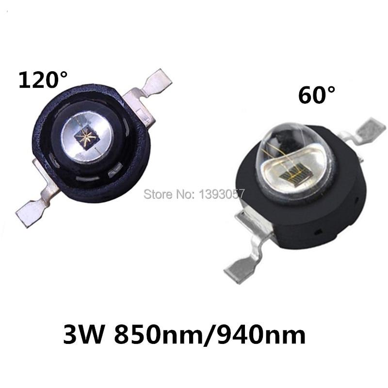 20PCS 3W Infrared IR 850nm 940nm High Power LEDs Emitter CCTV Camera IR Diode For Security Black LEDs 850 Nm 940 Nm 3W 700mA
