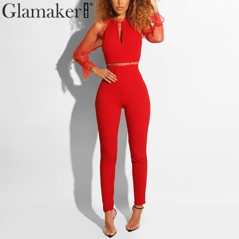 Glamaker Sexy transparent black   jumpsuit   women Summer red bodycon elegant party romper Female pearl club long playsuit overalls