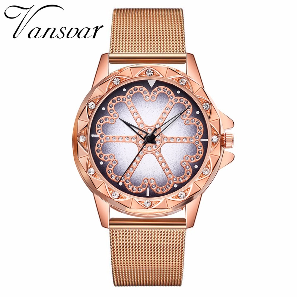 Hot Fashion Women Flower Rhinestone Wrist Watch Luxury Casual Rose Gold Steel Quartz Watch Relogio Feminino Drop Shipping  3