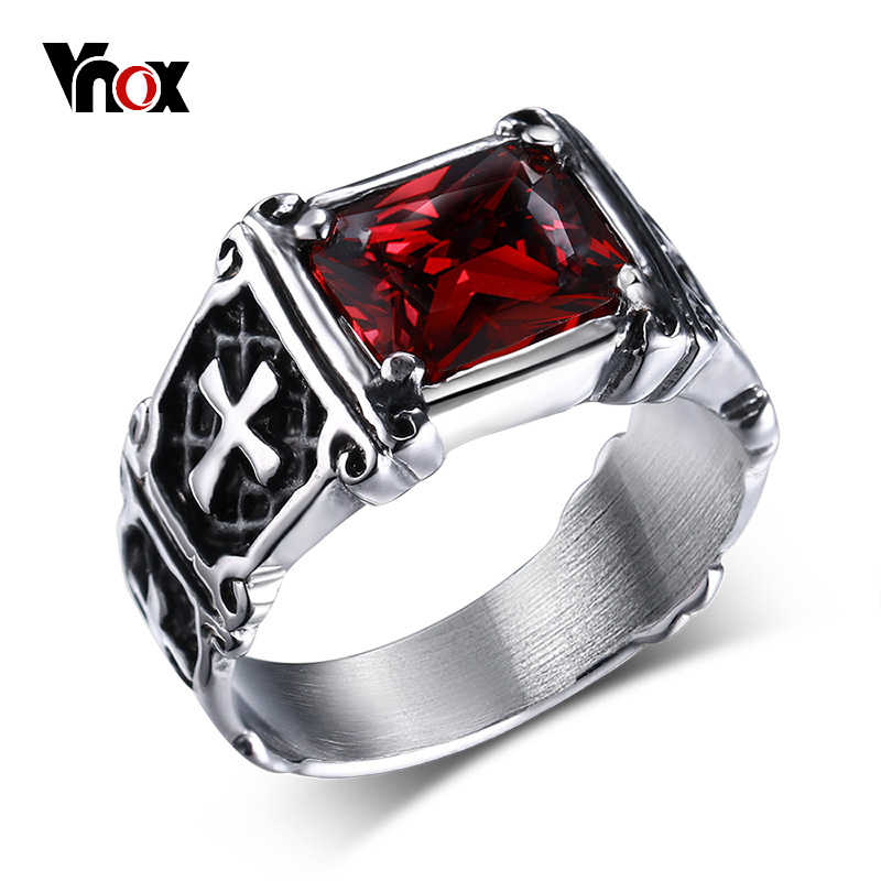 Vnox Punk Cross Ring Casting Prong Setting Red CZ Stone Stainless Steel Christ Prayer Male Alliance Jewelry Size 7 8 9 10 11 12