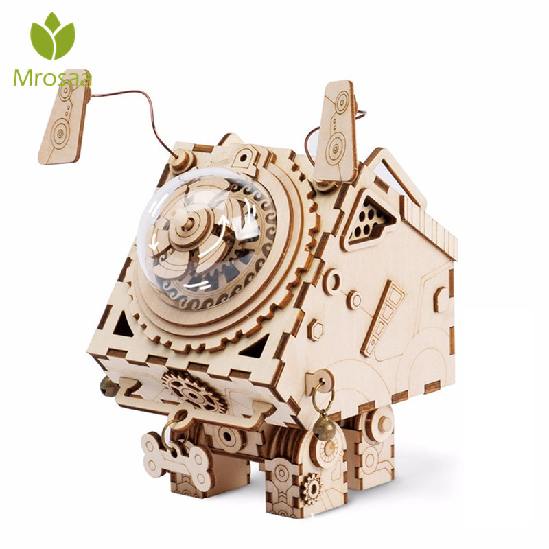 DIY 3D Wooden Chip Puzzle Music Box Toys Diy Hand Crank Musical Box Movements For Kids DIY Crafts Ornament Birthday Gift