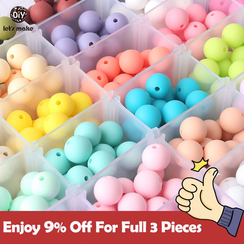 Silicone Beads 12mm 100pc Silicone Baby Teething Beads Food Grade Nursing Chewing Round Teether Silicone Beads Baby Teether