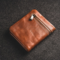 Wallet men's short leather super thin youth first layer cowhide handmade simple soft leather wallet vertical mini wallet