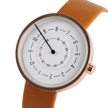 Unique Digital Turntable Dial Round Dial Stylish Leather Modern Quartz Fashion Women Men Special Design Wrist Watch Trendy Gift paidu special turntable dial sport watches for men leather modern trendy casual unique student quartz watch fashion male clock