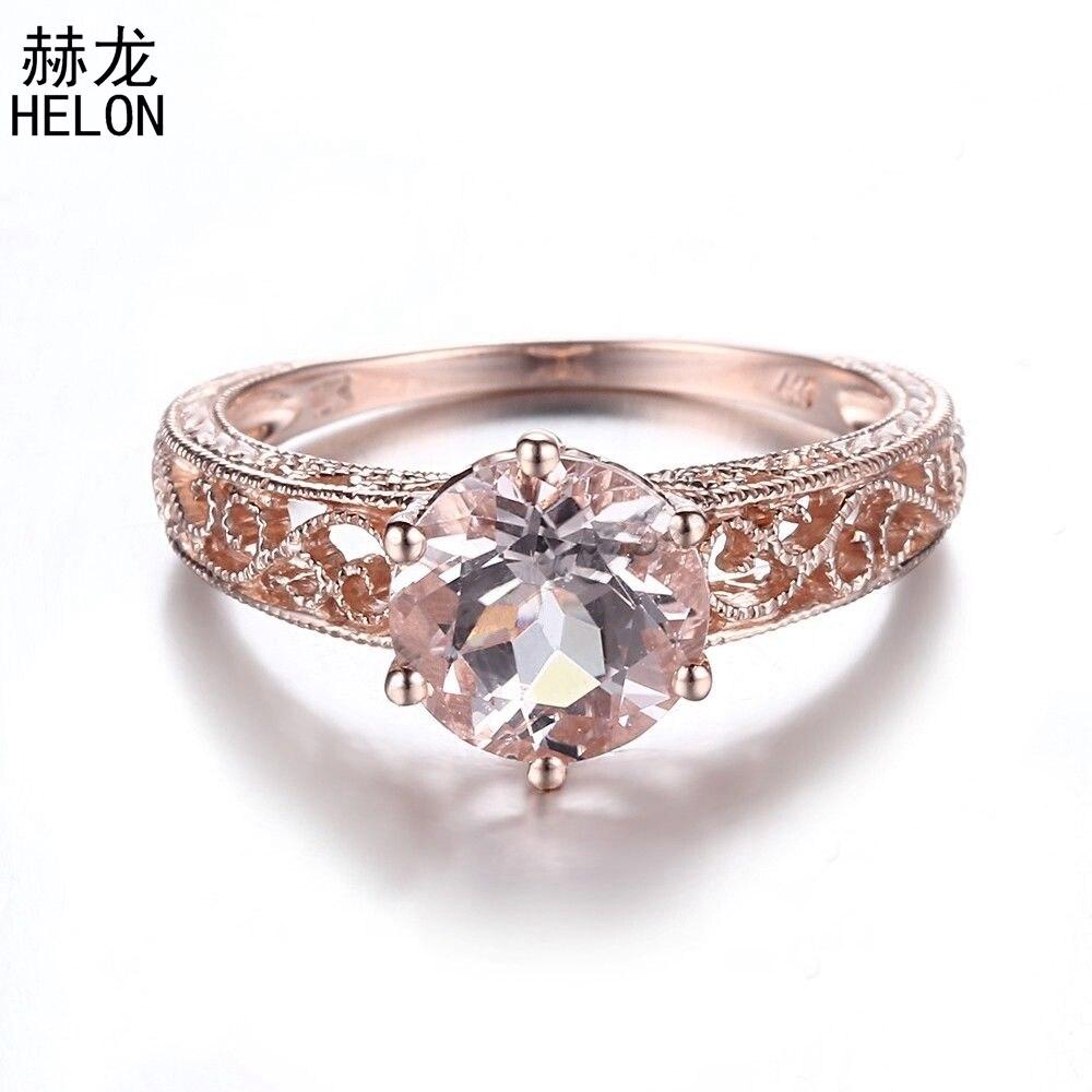 925 bague de fiançailles en argent Sterling certifiée ronde 1.6ct Morganite Vintage Antique Unique anneau pour les femmes de mariage bijoux à la mode