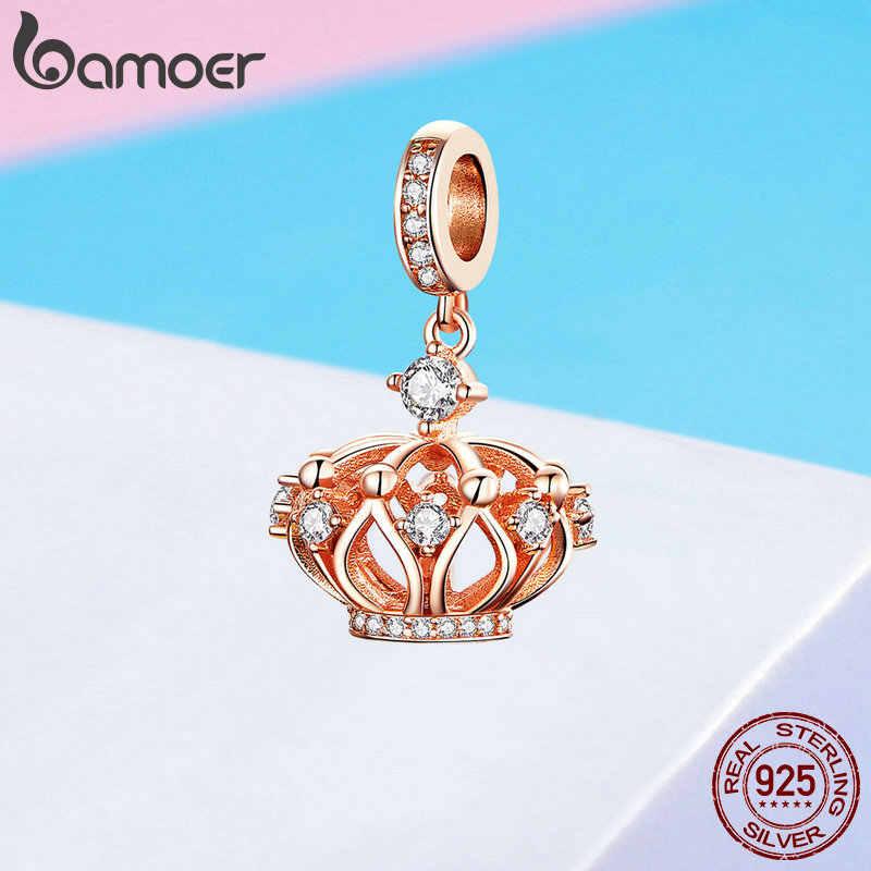 BAMOER Новая коллекция 925 стерлингового серебра Принцесса Корона кулон Роза Золотая цветная прелесть подходят женские ожерелья бижутерия SCC1121