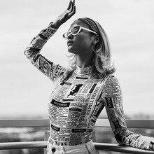 Women Long Sleeve Bodysuit Women Newspaper Printed Jumpsuits 2019 Summer Fashion