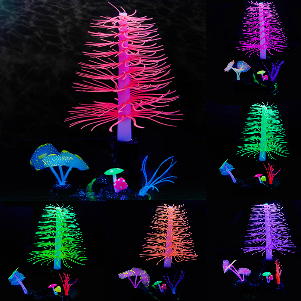 Artificial Swimming Glow Effect Coral Aquarium Decorative Fish Tank Underwater Live Plant Glow Decorative Aquatic Landscape D30 in Decorations from Home Garden