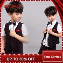 цена на 2016 New Children's Formal Sets wedding suits for baby boys wedding clothes boy birthday dress kids Children clothing