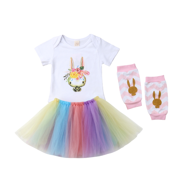 29f5b35076d5 Easter Toddler Kids Baby Girls Bunny Tops Romper Tutu Tulle Skirt 4pcs  Outfits Costume Baby Clothes