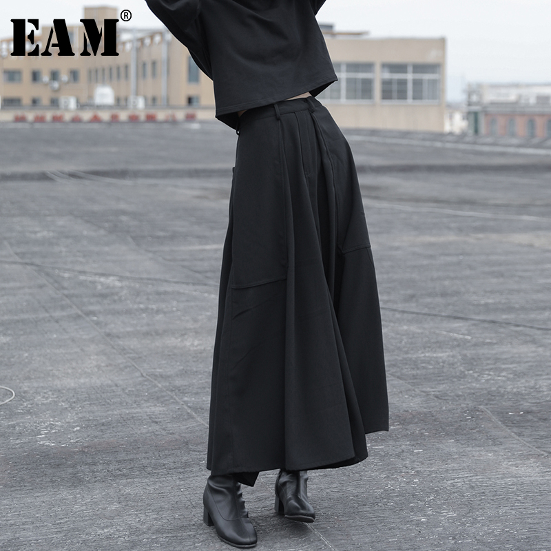 EAM 2019 Spring Woman Personality New Solid Black Color High Elastic Waist Pleated Pockets Long