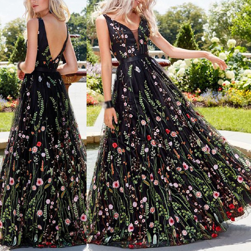 Women Summer Dress Elegant Deep V-Neck Sexy Backless Sleeveless Ladies Party Evening Beach A-line Swing Embroidered Long Dress