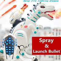 Remote Control Dinosaur Robot Toy Water Spray Bullet Launch Simulation Animal Model Electric Dinosaur Music Boys Kids Gift