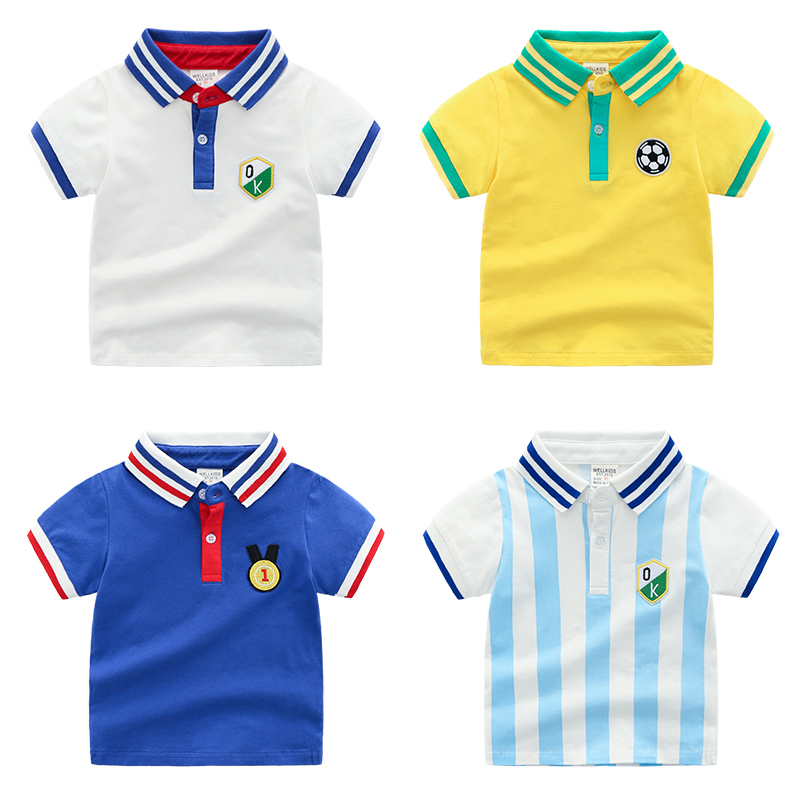468dabc1 Turn Down Collar Boys T Shirt Short Sleeve Boys Cotton Tops 2-6 Years  Children