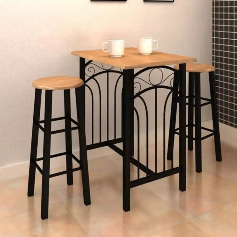 3Pcs VidaXL Breakfast Dinner Table Dining Set MDF With Black Kitchen Table Dining Room Furniture Wooden Cafe Table With Chairs