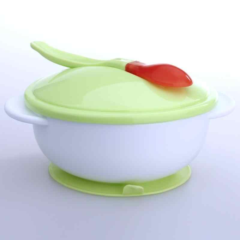 Cuenco de alimentación para bebés con ventosa y detección de temperatura cuchara de entrenamiento comida para bebés cena para bebés cuencos de alimentación platos