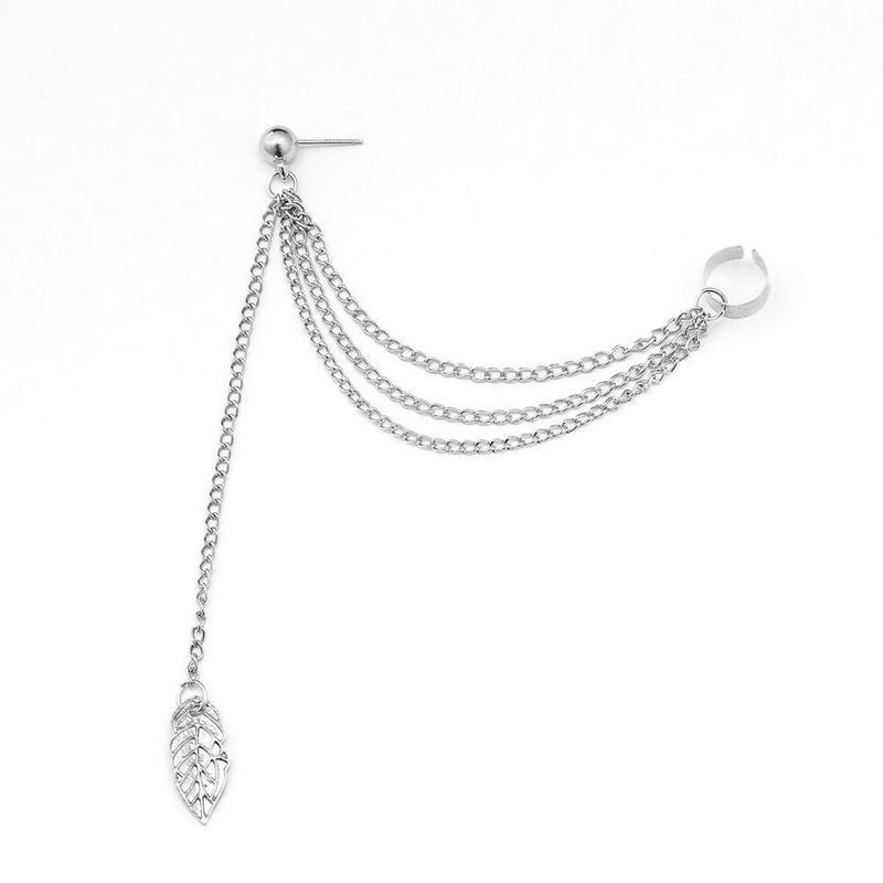1Pcs Women Long Earrings Punk Rock Metal Leaves Tassel Chain Dangle Ear Cuff Wrap Earrings Ear Clip Party Wedding Jewelry