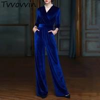 TVVOVVIN Velour Jumpsuit Female V Neck Wrist Sleeve High Waist Bandage Women's Romper Elegant 2019 Autumn Clothes E172