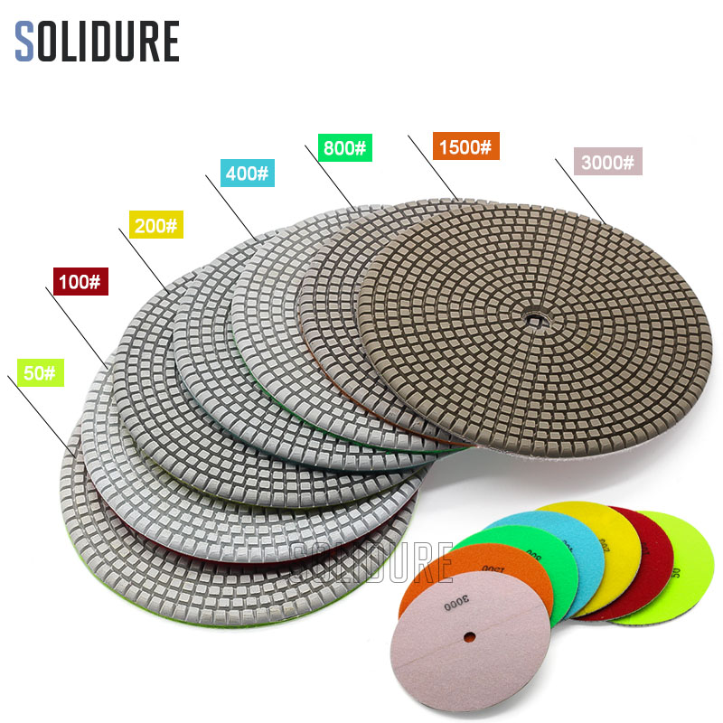 7 Inch 180mm Polishing Pads 3.0mm Working Thickness For Wet Polishing Granite,marble Engineered Stone And Concrete