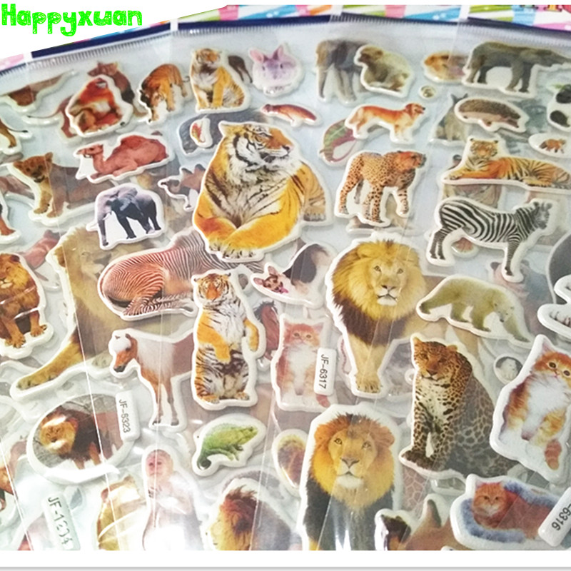 Happyxuan 12 Sheets /lot Kids Puffy Stickers Wild Animals Cats Dogs Girls Boys Rewards Sticker For School Teacher Classic Toys