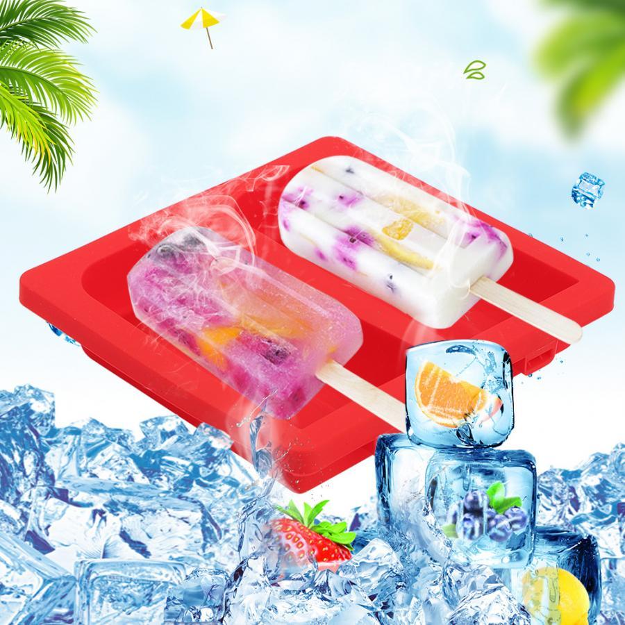 Vriezer ijs Bar Mallen Zelfgemaakte Ijslolly Siliconen Mallen met 20 Houten Stokken DIY Ice Maker Huishoudelijke Keuken Accessoires