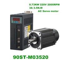 220V 730W AC Servo motor 3.5N.M. 2000RPM 0.73KW Single Phase servomotor ac drive permanent magnet Matched Driver 90ST M03520