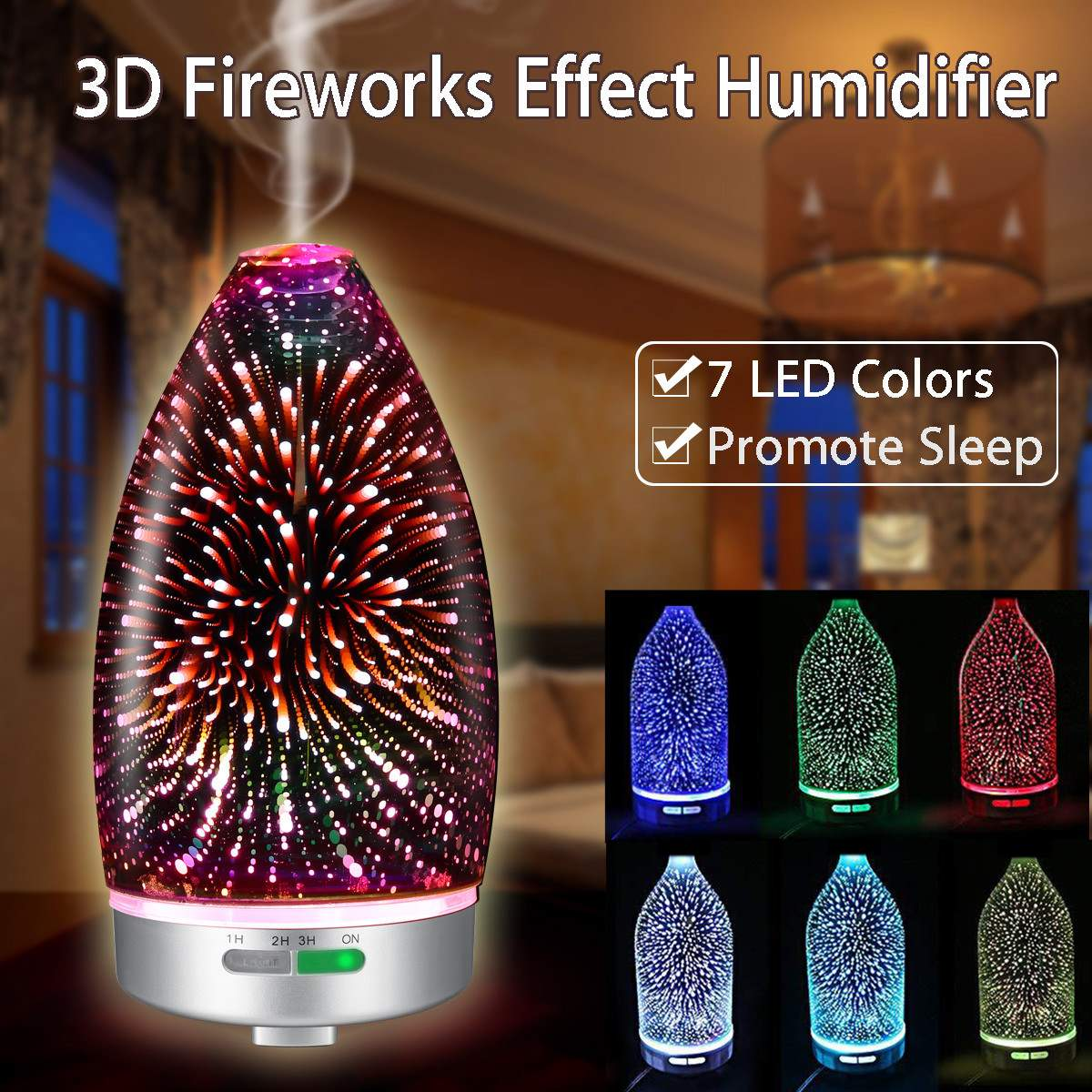 3D Fireworks LED Night Light Air Humidifier Glass Vase Shape Essential Oil Diffuser Mist Maker Ultrasonic Humidifier Gift AU