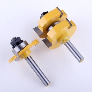 """Image 3 - Jeu de mèches de toupie 1 à 1/4 """", outil de coupe du bois, 2 pièces, tige de 8mm, pour lassemblage de la languette et de la rainure CHWJW"""
