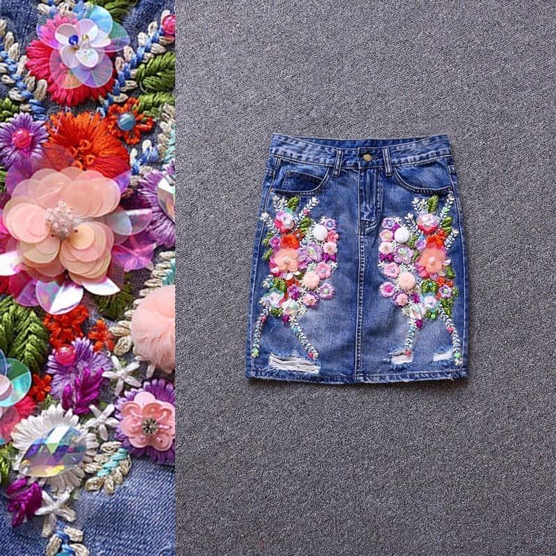 Broderie floral coton denim jupe femmes taille haute all-match slim été 2019 nouveautés