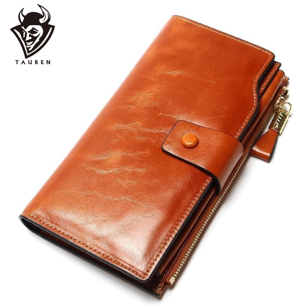 2019 Ny design mode multifunktionell handväska äkta läder plånbok kvinnor lång stil cowhide handväska grossist och handväska