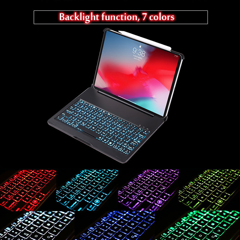 Case For iPad Pro 11 2018 Case 7 Colors Backlit Light Wireless Bluetooth Keyboard Case Cover