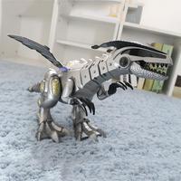Spray Electric Dinosaur Toy Mechanical Pterosaurs Dinosaur World Toy With 3pcs Small Dinosaur Model White