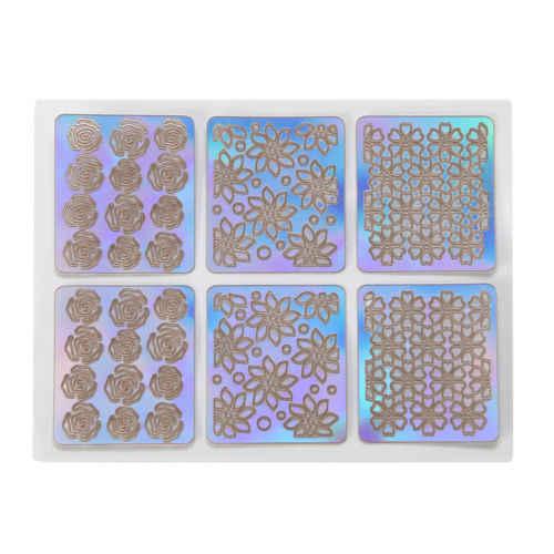 24 แผ่น DIY Nail Art Hollow สติกเกอร์ Reusable Stamping Stencil แม่พิมพ์